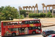 Anjar historical sites & Taanayel Farms in the open top City sightseeing double decker bus.