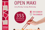 Open Maki at TokyoLebanon - Every Monday, Tuesday, Wednesday