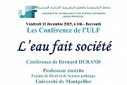 Conférence L'eau fait société, par Bernard DURAND