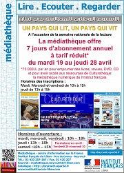 Lire Ecouter Regarder : 7 jours d'abonnements annuels à tarif réduit à la médiathèque de l'IF Beyrouth