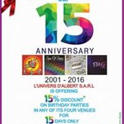 L'Univers d'Allbert celebrating with you our 15 years !