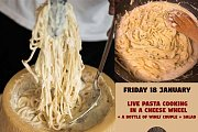 Live Pasta Cooking in a Cheese Wheel At The Wooden Cellar